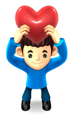 The Boys Mascot holding hearts. 3D Family and Children Character