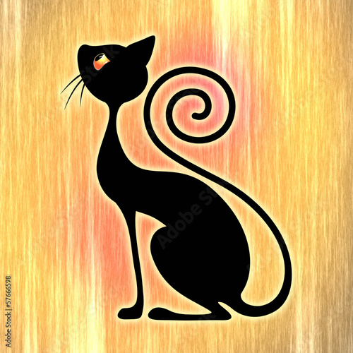 Black Cat Vintage Style Design-Gatto Nero Art Deco