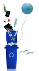 Blue recycle bin with recyclable materials and earth balloon