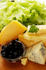 cheese with olives and lettuce