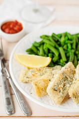 Lemon Semolina Crusted Fish Fries with Green Beans and Marinara