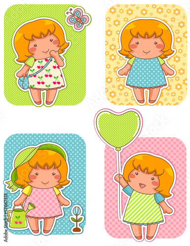 cute girls over patterned backgrounds. Swatches are included.