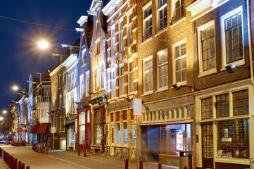Amsterdam: typical street scenery at night.