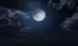 Night starry sky and moon - Fine Art prints