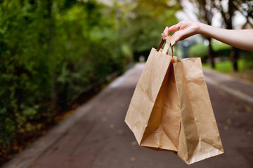 Shopping bags in the hand
