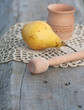 wood mortar and yellow pear