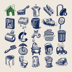 25 hand drawing icon set, cleaning and hygiene service