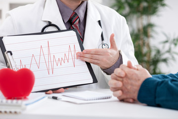 Cardiologist showing EKG results