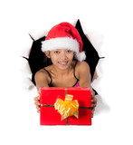 girl holding Christmas box in a hole