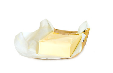 Yellow butter with paper package