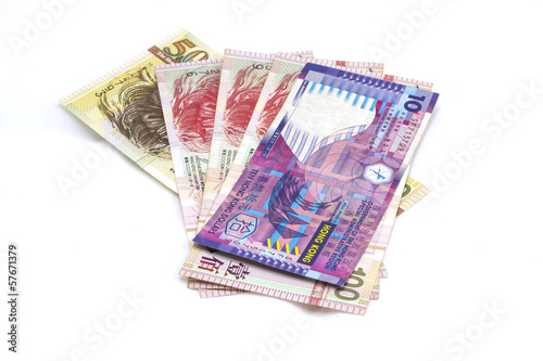 Hong kong bank notes on the white background
