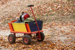 canvas print picture - Bollerwagen steht am Wegesrand