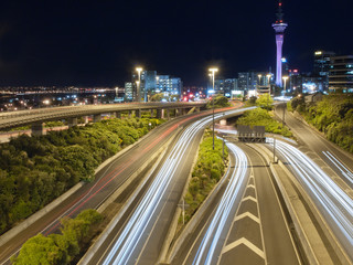 Night traffic in Auckland