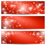 Christmas banner red background with stars