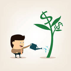 Cartoon Businessman during watering the money tree