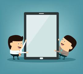 Cartoon businessman doing presentation on the tablet screen