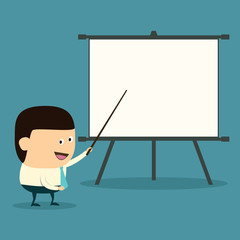 Cartoon businessman doing presentation
