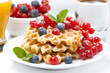 delicious breakfast with Belgian waffles and berries, close-up
