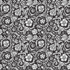 Black and white ornamental seamless vector pattern
