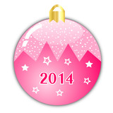 Pink christmas ball with 2014 year