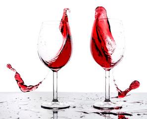 Splashing red wine