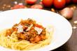Spaghetti mit Sauce aus Hackfleisch