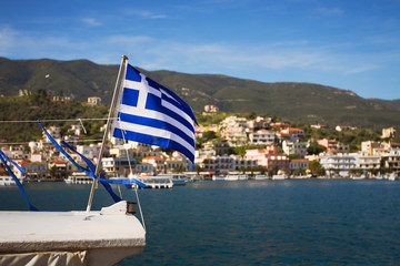 greek flag on the boat