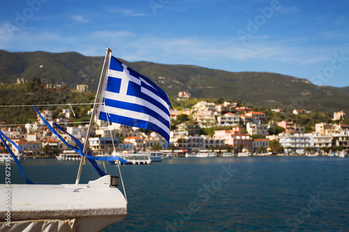 greek flag on the boat