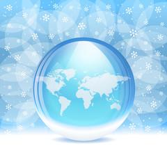 Vector snow globe. Layered.