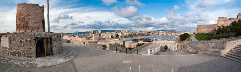 Panoramic view insede fort saint Nicolas and city of Marseille