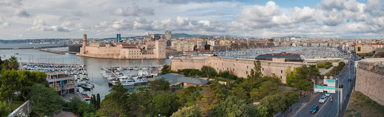 Panoramic view of Marseille ald city port vieux and fort saint j