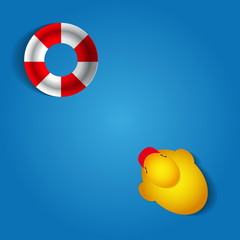 Duck and rescue wheel on blue background - vector illustration