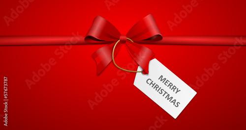Schleife mit Schild - merry christmas