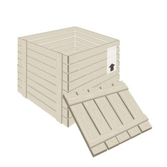 Open Wooden Cargo Box on White Background