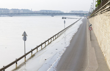 Road flood in the city