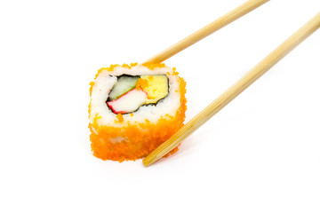 Roll sushi on white background