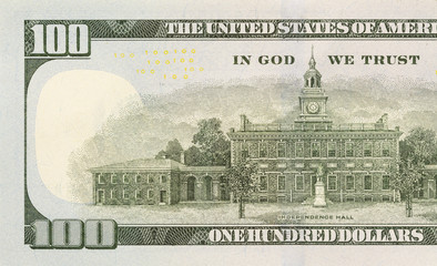 New One Hundred Dollar Bill - Back Right Half