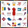 Sewing, Tailoring Icons, multicolor, check pattern border