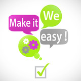 bulles vert fuchsia : we make it easy (anglais)