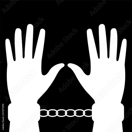 silhouette of hands in handcuffs