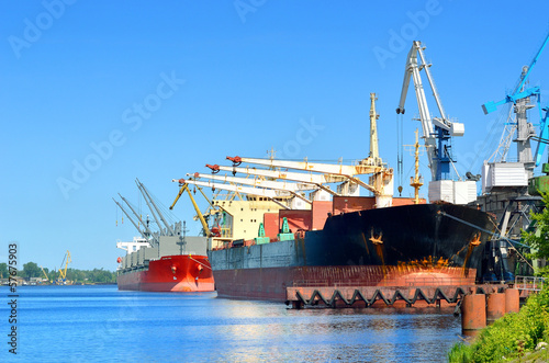 cargo ships loading in cargo terminal of Riga