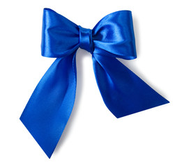 Blue satin gift bow