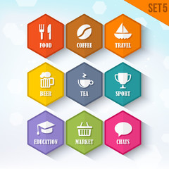 Trendy Vector Rounded Hexagon Icons Set 5