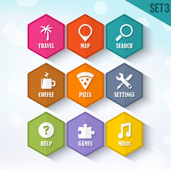 Trendy Vector Rounded Hexagon Icons Set 3