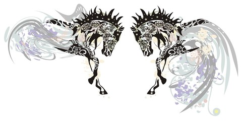 Ornate horses with floral elements