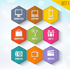 Trendy Vector Rounded Hexagon Icons Set 1