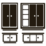 furniture icons of cabinet isolated on white background