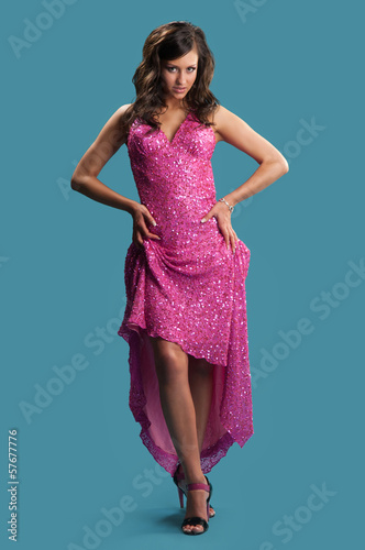 woman in a pink dress