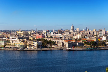 Havana.View of old city through  bay from Morro's fortress. ..