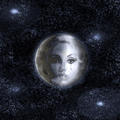 moon turns into a face of the beautiful woman in the night sky.